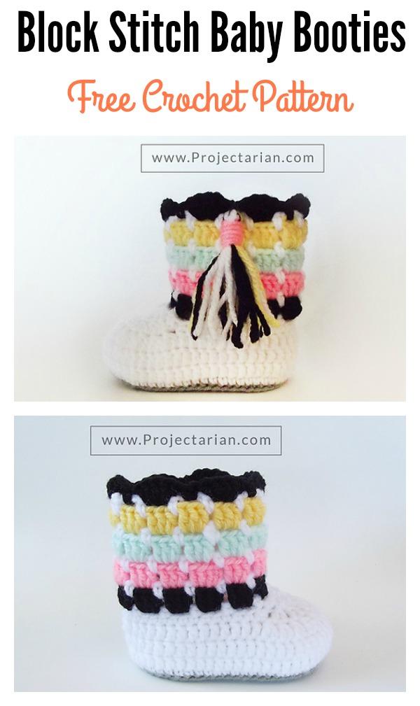 Block Stitch Baby Booties Free Crochet Pattern