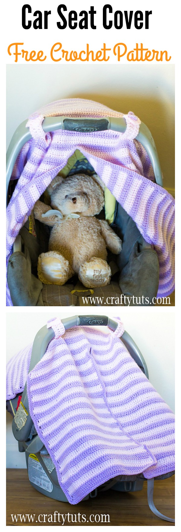 Car Seat Cover with Peekaboo Opening Free Crochet Pattern