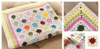 Cluster Burst Afghan Blanket Free Crochet Pattern