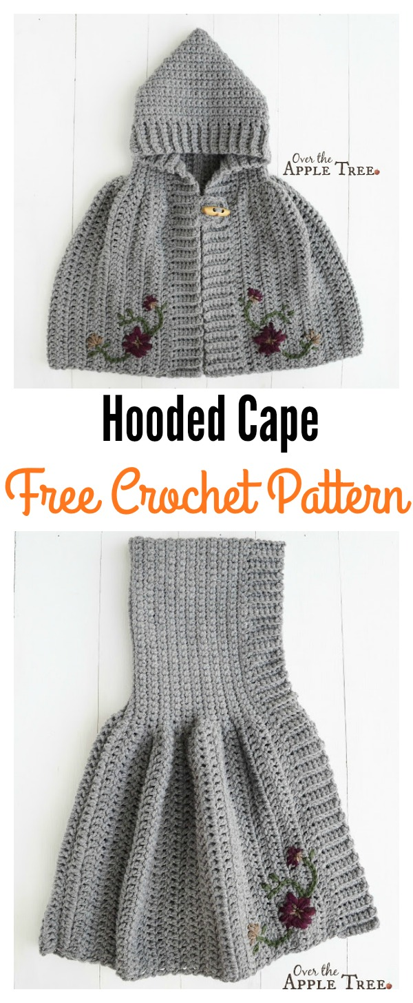Free Crochet Pattern For Hooded Cape : Hooded Cape Free Crochet Pattern for Girl