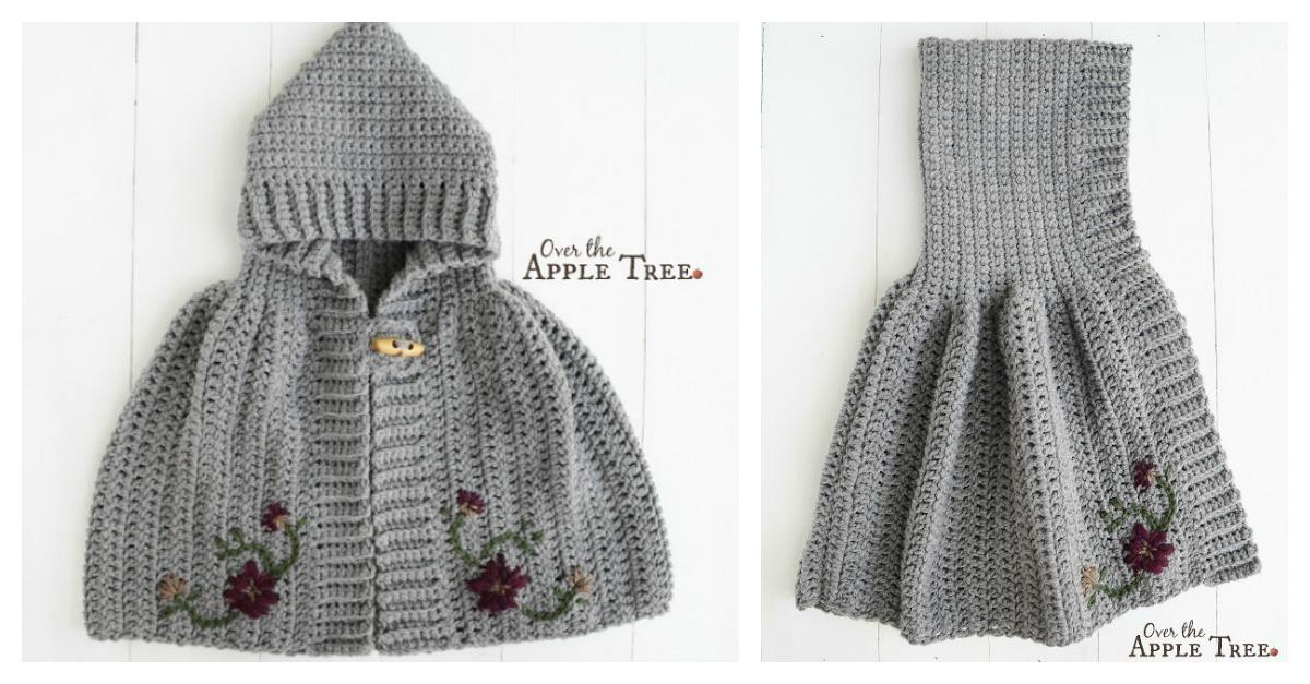 Hooded Cape Free Crochet Pattern For Girl