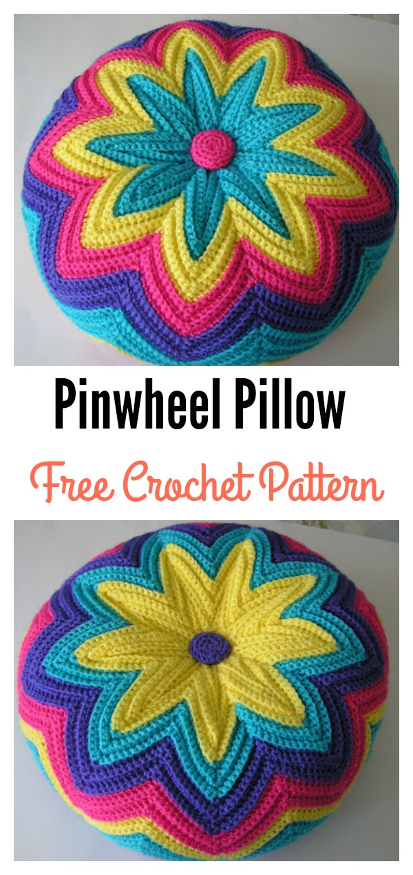 Crochet Pinwheel Pillow Free Pattern