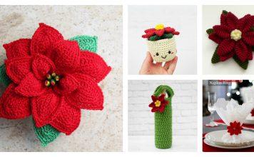 Crochet Poinsettia Flower Free Patterns