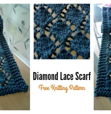 Easy Diamond Lace Scarf Free Knitting Pattern