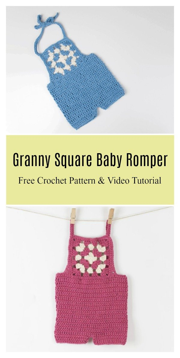 Granny Square Baby Romper Free Crochet Pattern and Video Tutorial