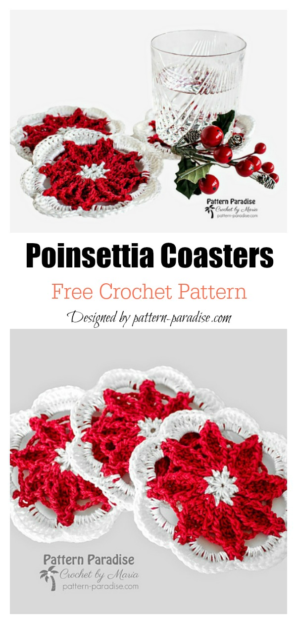 Poinsettia Coasters Free Crochet Pattern
