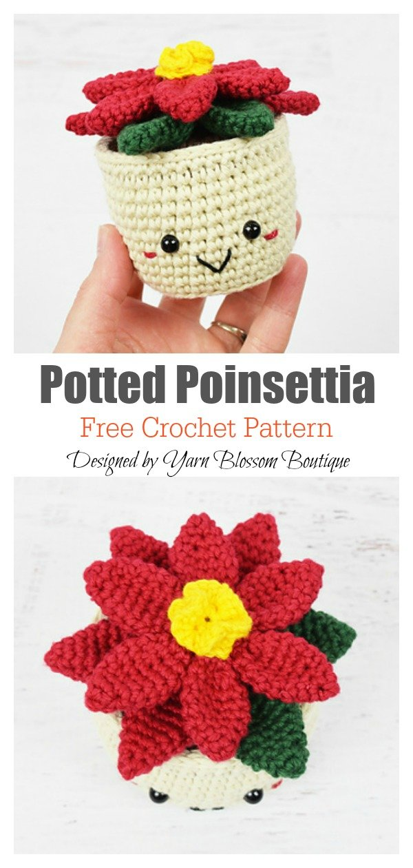Potted Poinsettia Flower Free Crochet Pattern