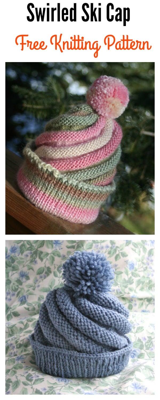 3f8ac6684ca Swirled Ski Cap with Pom Pom Free Knitting Pattern