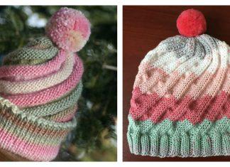 Swirled Ski Cap with Pom Pom Free Knitting Pattern