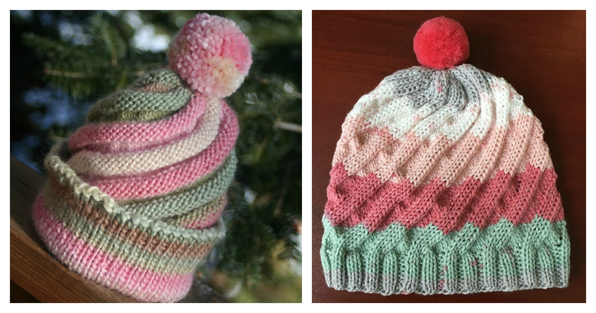 Swirled Ski Cap with Pom Pom Free Knitting Pattern
