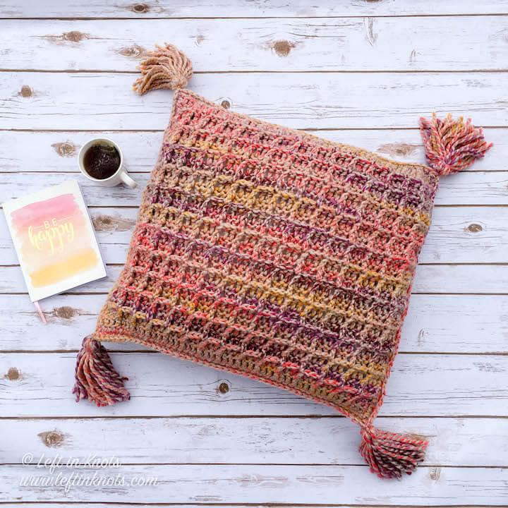 Waffle Stitch Throw Pillow Free Crochet Pattern