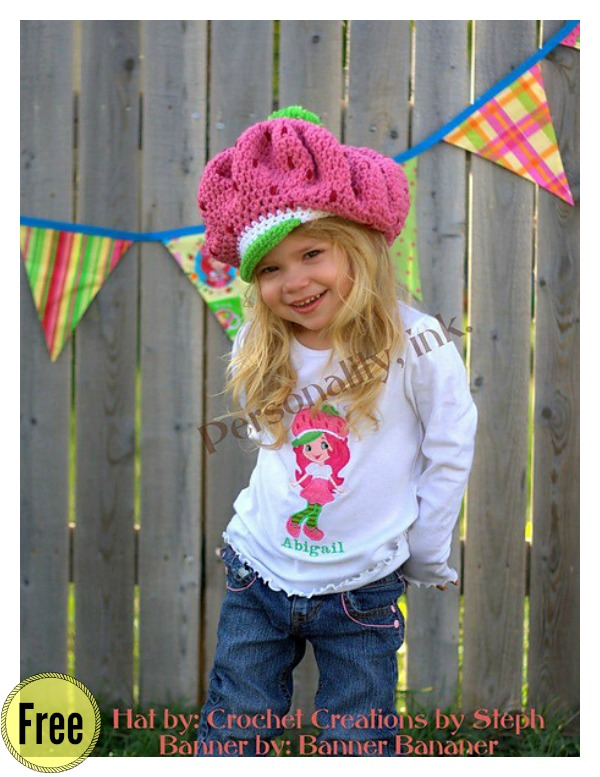 Adorable Strawberry Shortcake Hat Free Crochet Pattern