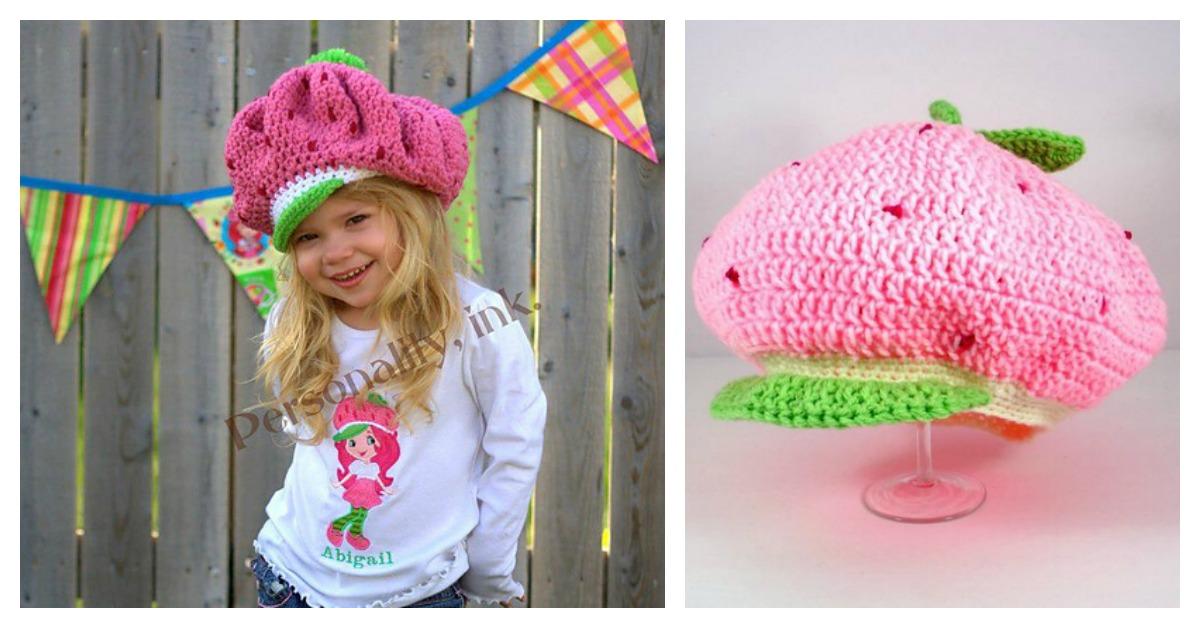 strawberry hat free crochet pattern with knitting pattern