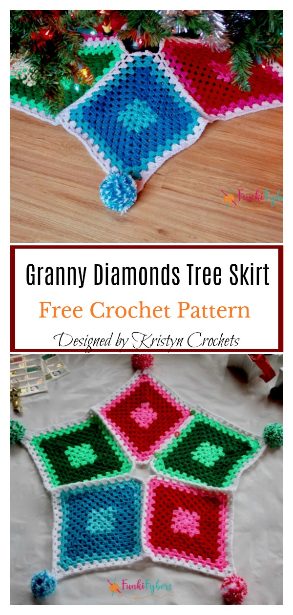 Granny Diamonds Christmas Tree Skirt Free Crochet Pattern