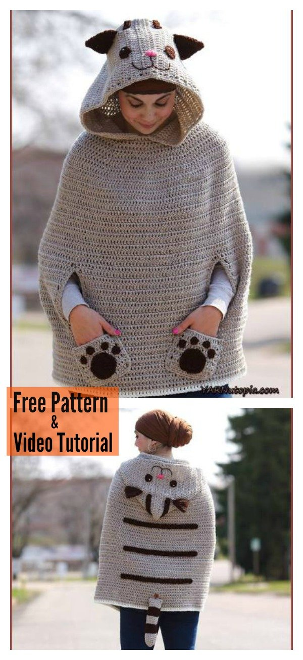 Kitty Cat Poncho Free Crochet Pattern and Video Tutorial