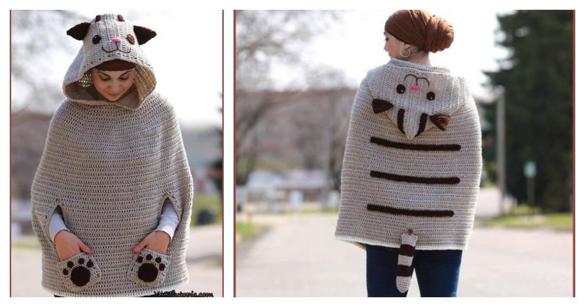 Free Poncho Pattern To Crochet : Kitty Cat Poncho Free Crochet Pattern
