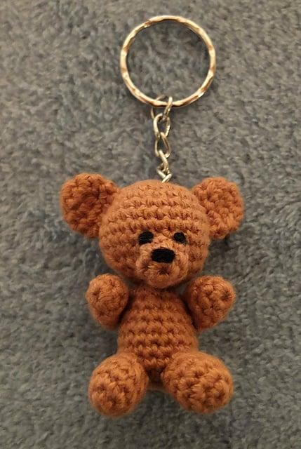 Mini Teddy Bear Keychain Free Crochet Pattern
