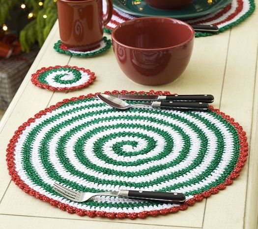 Pinwheels Placemat Set Free Crochet Pattern