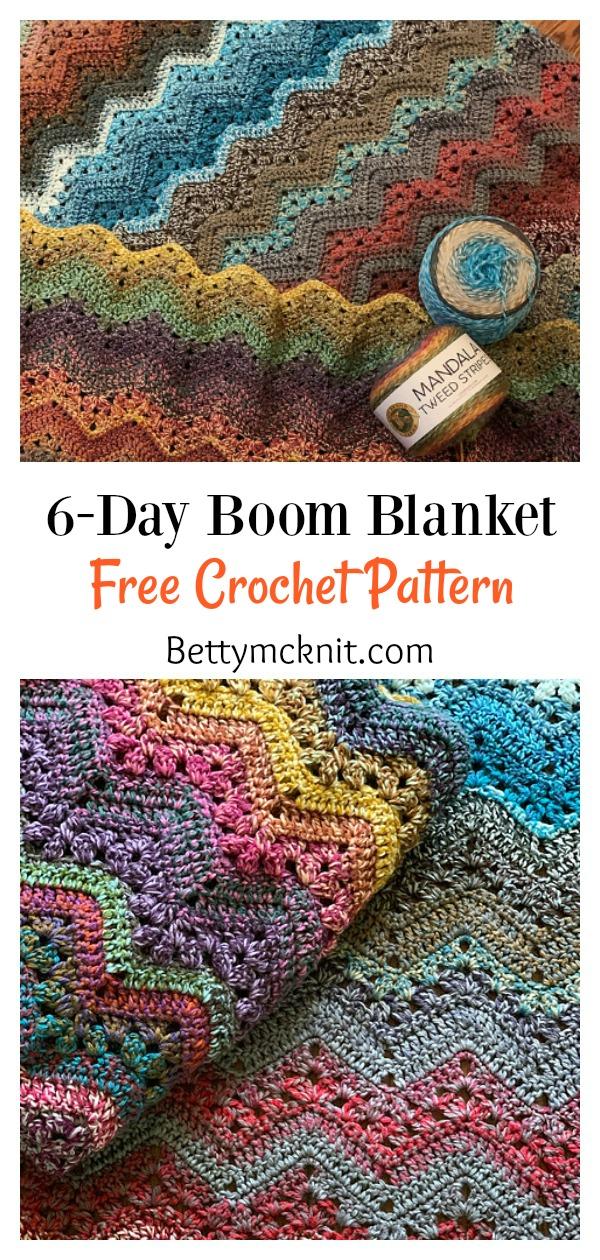 6-Day Boom Blanket Free Crochet Pattern
