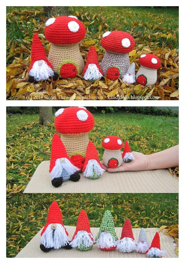 Amigurumi Little Christmas Gnomes with Mushrooms Houses Crochet Pattern