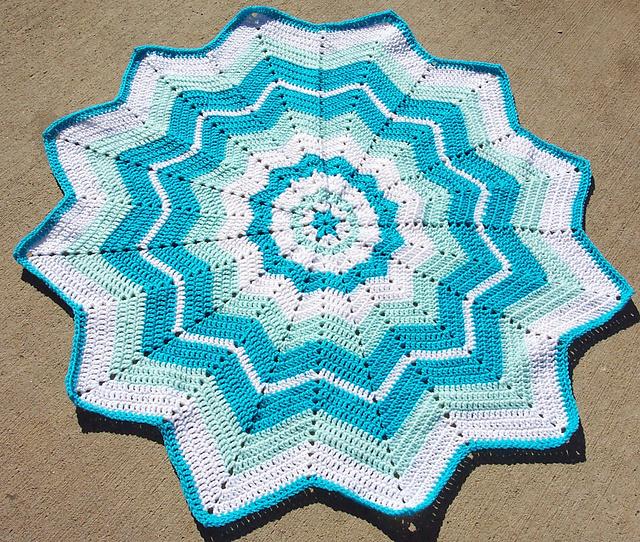 Beginners Round Ripple Afghan Baby Blanket Free Crochet Pattern