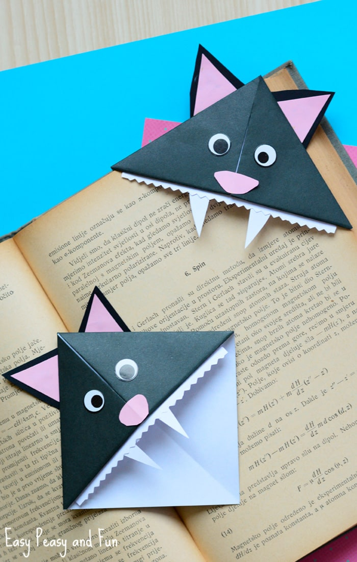 Halloween Origami Cat Corner Bookmarks Paper Crafts for Kids