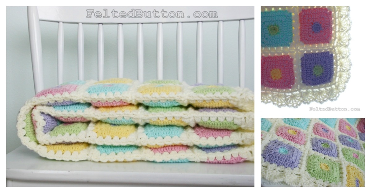 Colorful Puffy Patch Baby Blanket Crochet Pattern