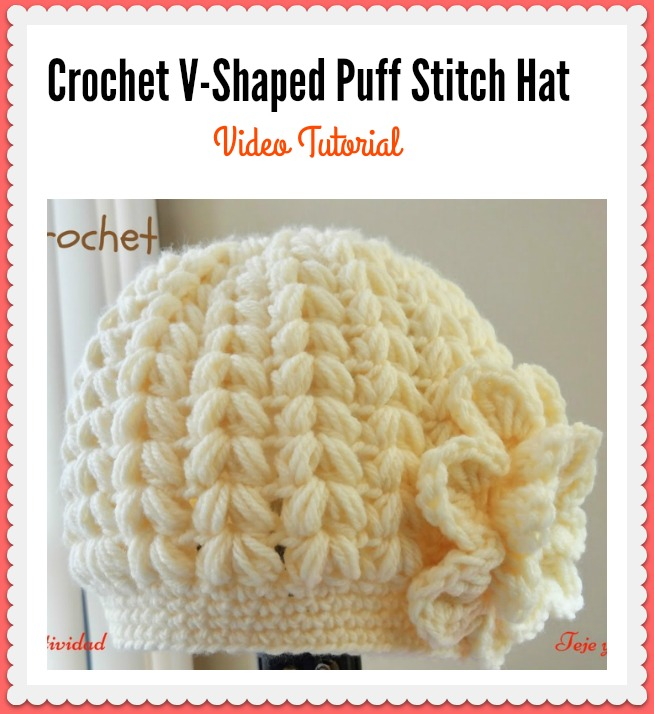 Crochet V-Shaped Puff Stitch Beanie Hat Video Tutorial