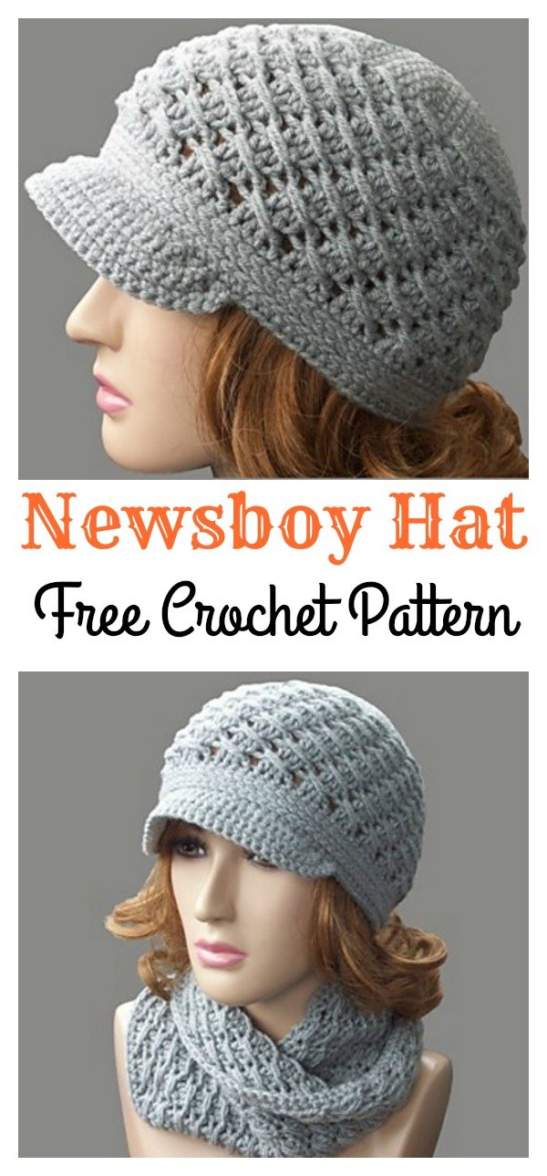 Cross-Over Long DC Newsboy Hat Free Crochet Pattern