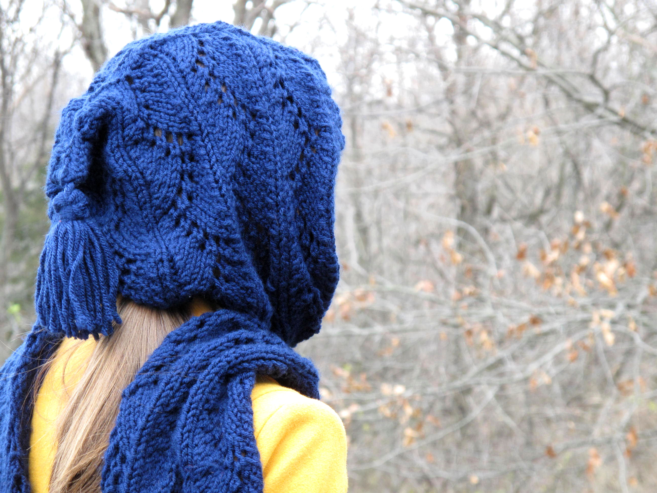 Curving Lattice Hooded Scarf Free Knitting Pattern