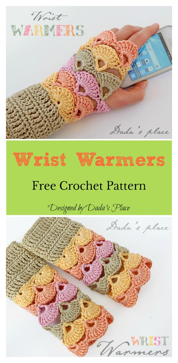Fan Stitch Wrist Warmers Free Crochet Pattern