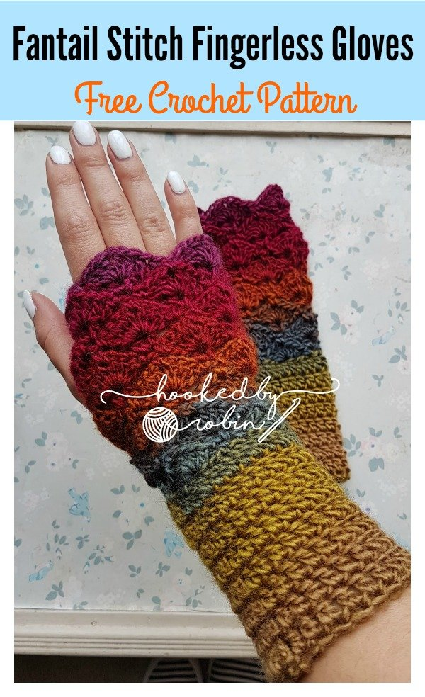 Fantail Stitch Fingerless Gloves Free Crochet Pattern Cool
