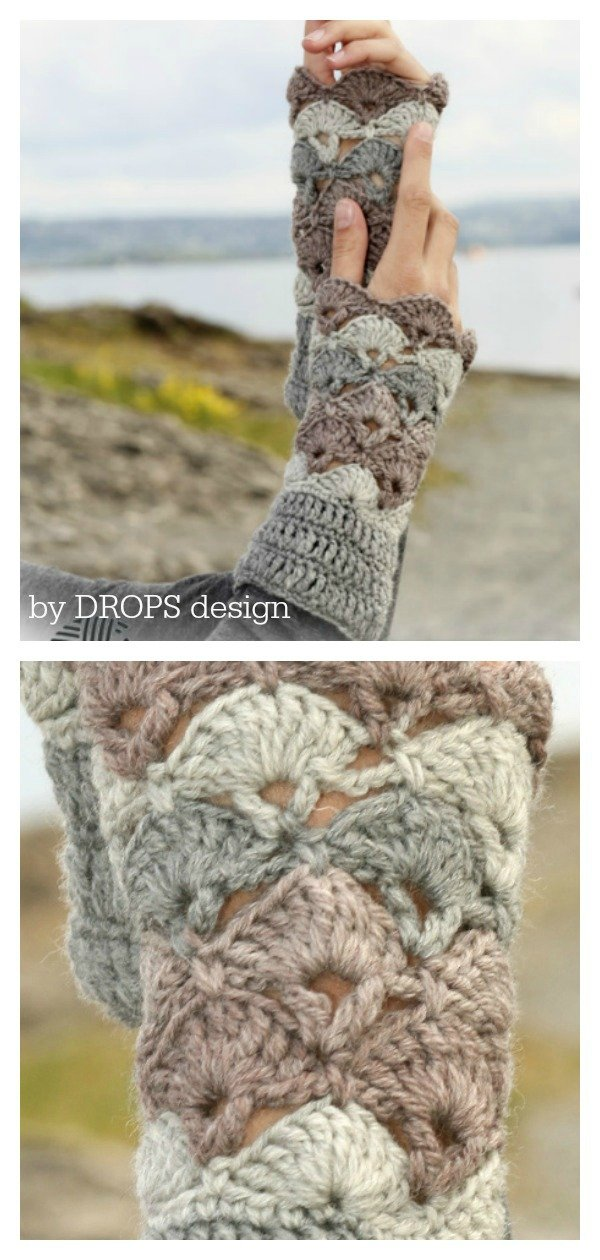 Fantail Stitch Winter Fanfare Wrist Warmers Free Crochet Pattern