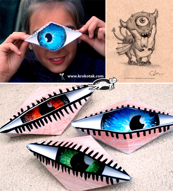Halloween Blinking Origami Eye Paper Crafts for Kids