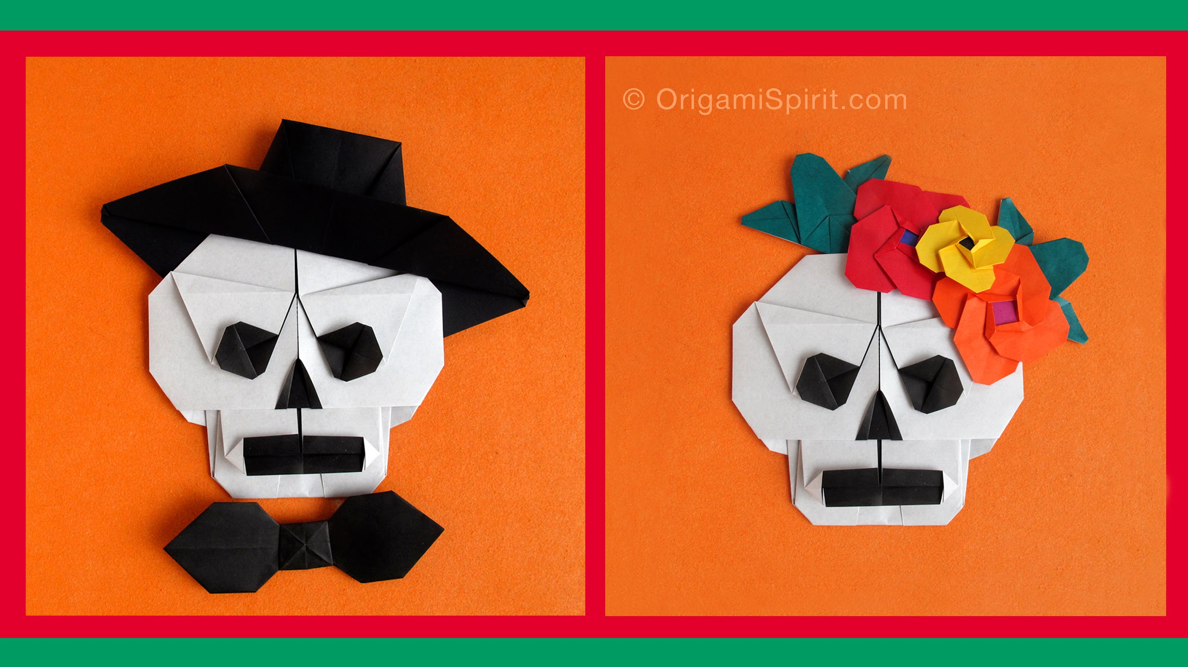 Halloween Origami Sugar Skull Paper Crafts for Kids