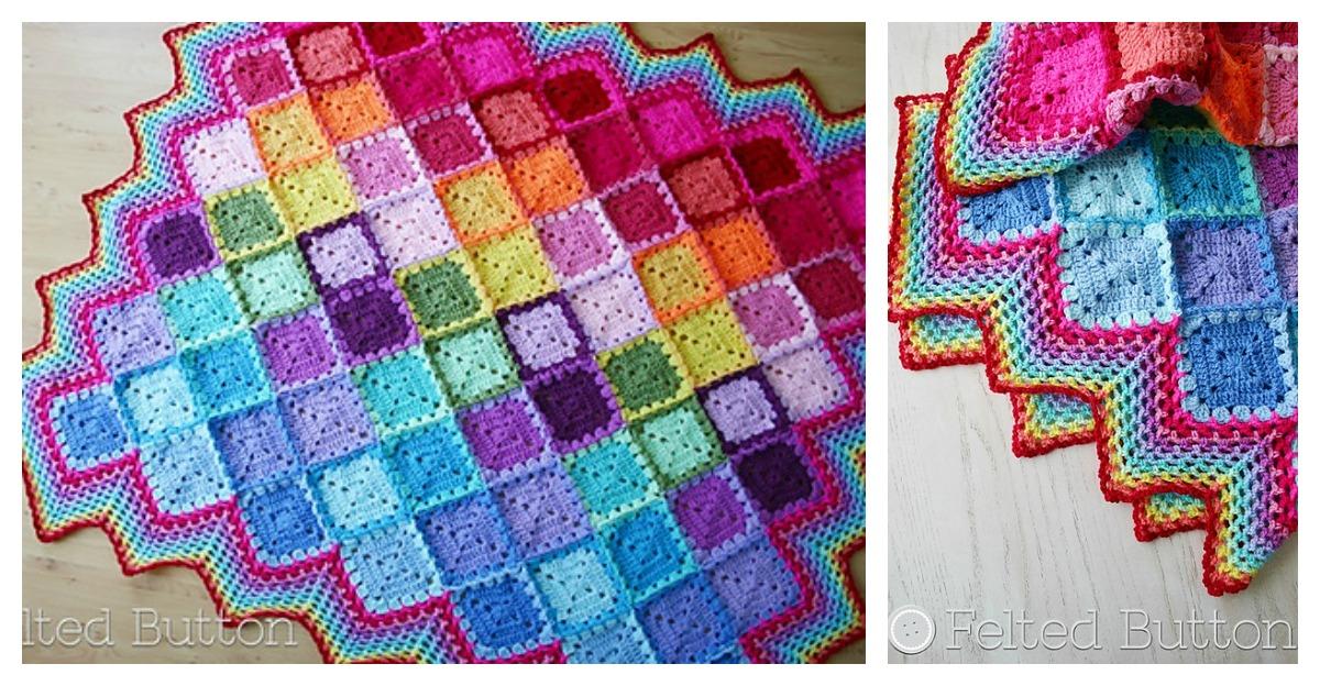 Happy Harlequin Blanket Free Crochet Pattern