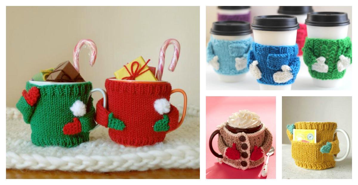 Mug Sweater Knitting Pattern : Mug Cozy Sweater Knitting Pattern