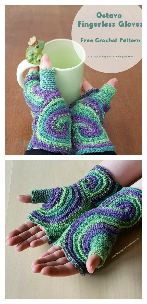 Pieces of Eight Fingerless Gloves Free Crochet Pattern