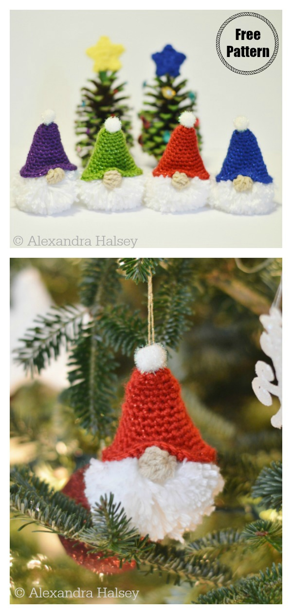 Puffball Gnome Ornament Free Crochet Pattern