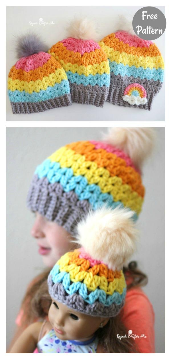 Rainbow Cluster V-Stitch Beanie Hat Free Crochet Pattern