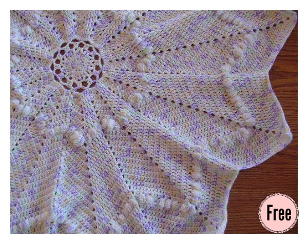 Round Ripple Afghan Baby Blanket Free Crochet Pattern Cool