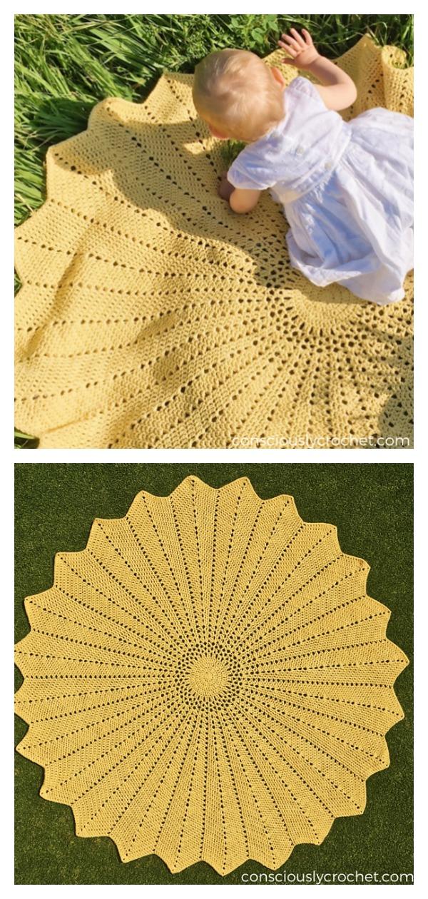 Solstice Round Ripple Afghan Baby Blanket Free Crochet Pattern