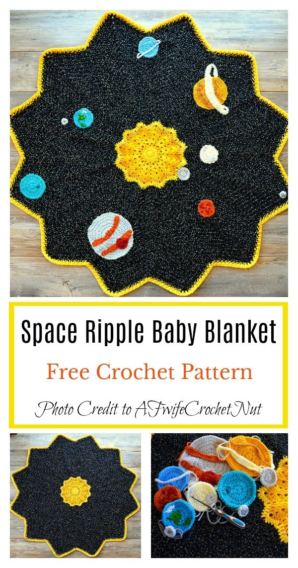 Space Ripple Baby Blanket Free Crochet Pattern