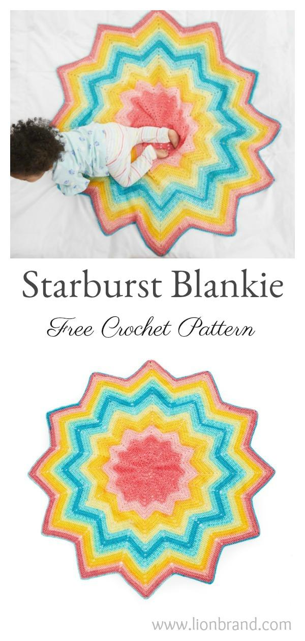 Starburst Blankie Round Ripple Afghan Baby Blanket Free Crochet Pattern