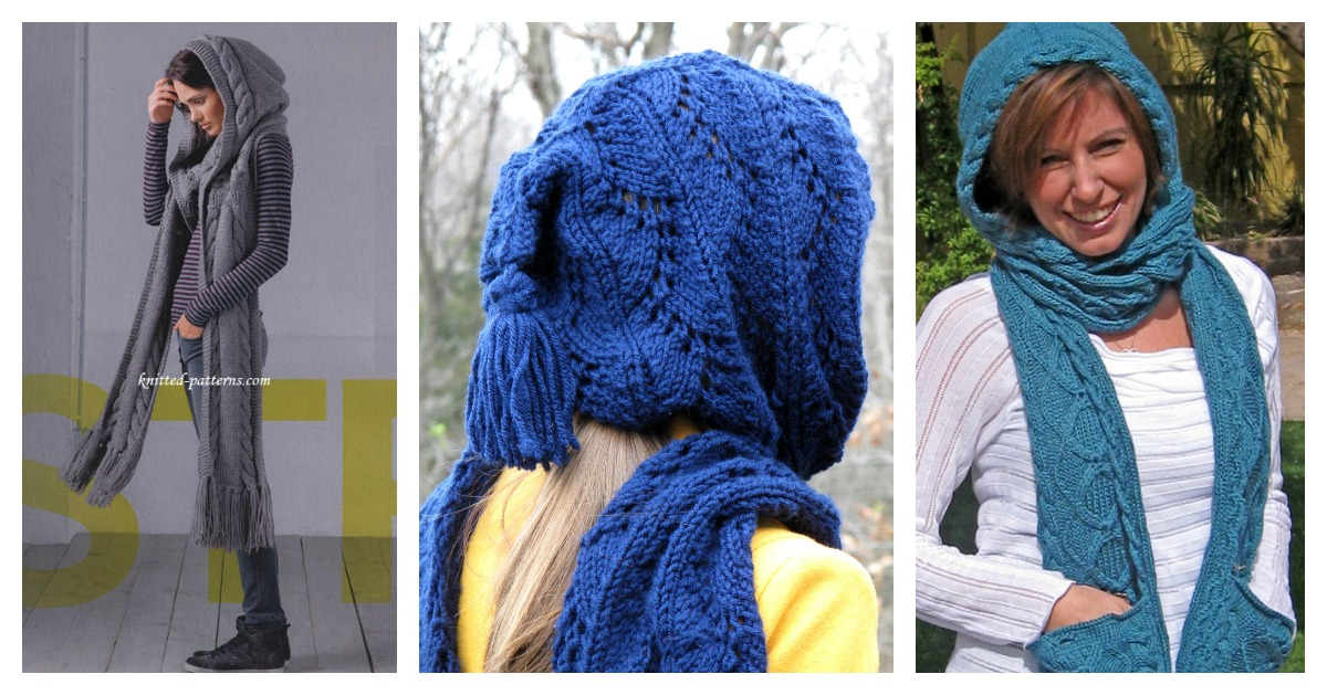 Stylish Hooded Scarf Free Knitting Pattern