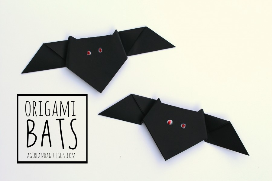 Halloween Origami Bats Paper Crafts for Kids