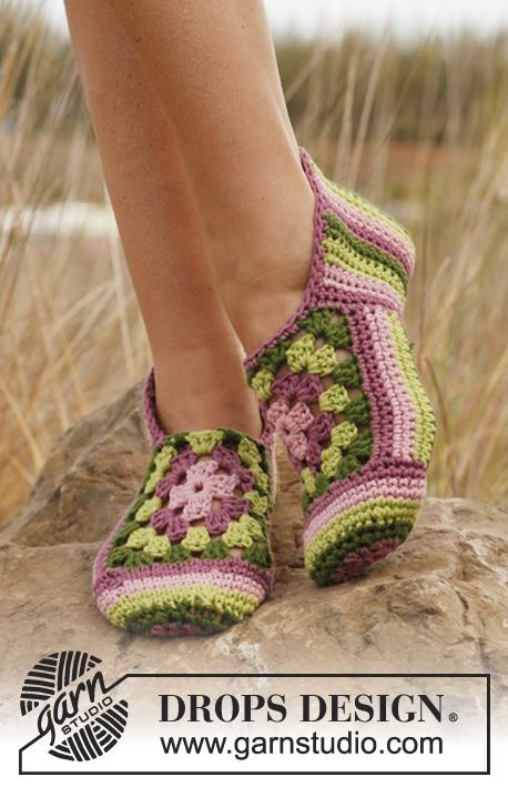 Sweet Granny Rose Slippers Free Crochet Pattern