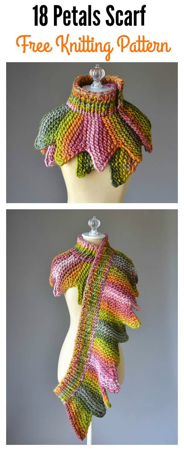 Easy Knitting Patterns For Kids : 18 Petals Scarf Free Knitting Pattern