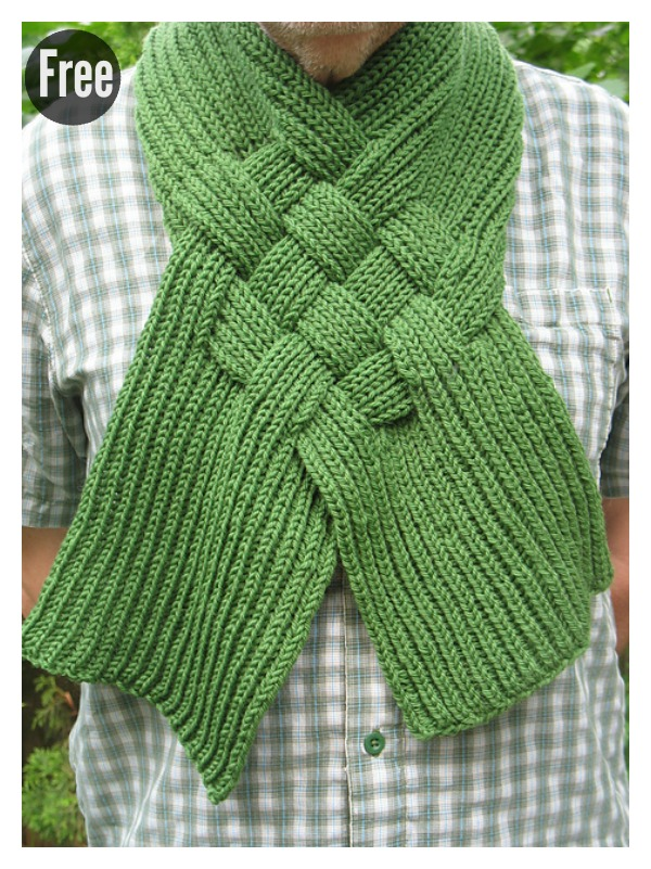 Beautiful Celtic Knot Looped Scarf Free Knitting Pattern