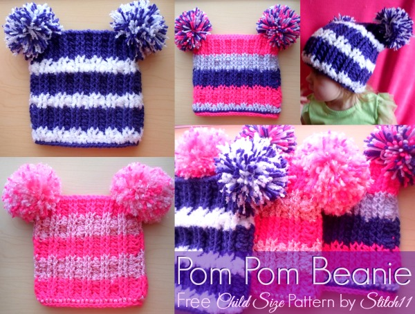 Double Pom Pom Hat Free Crochet Patterns for Beginners ff738bc7bbf